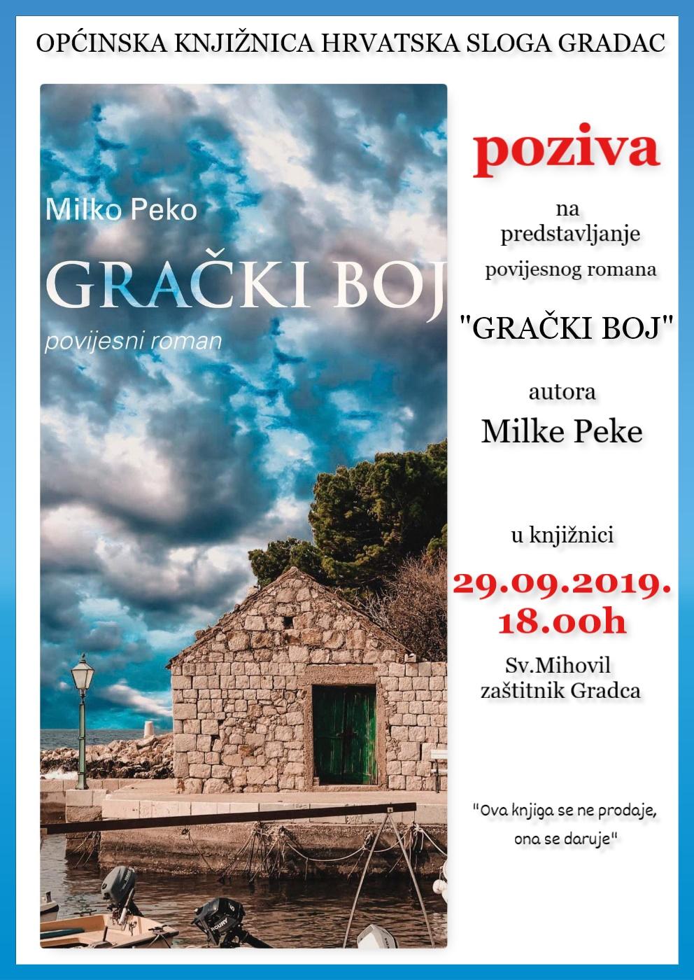 """Predstavljanje povijesnog romana """"Grački boj"""", autora Milke Peke"""